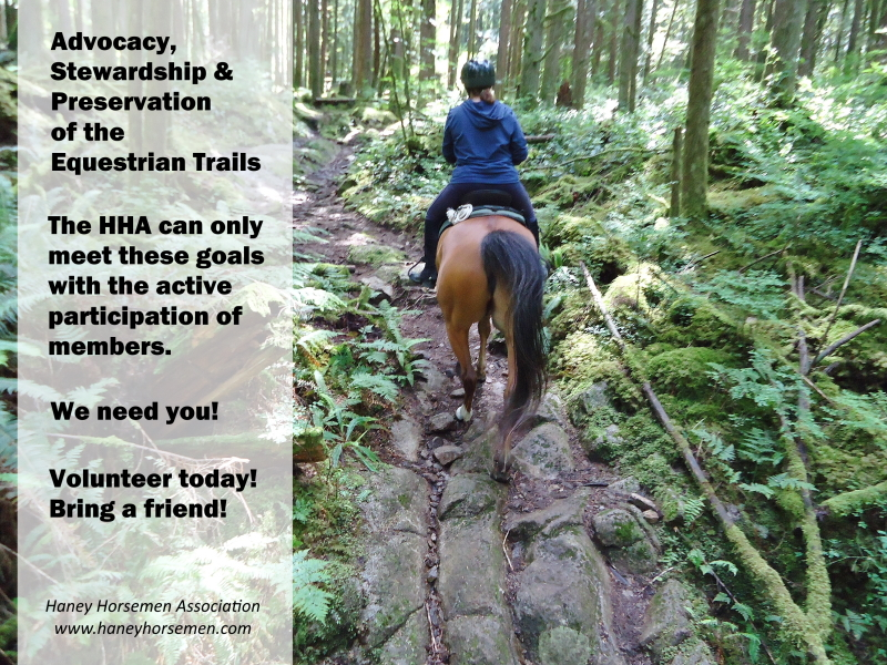 Advocacy, Stewardship and Preservation of the Equestrian Trails. The HHA needs you! Volunteer today!